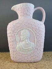 """6"""" Antique Pink White Woman Maiden w/ Mirror Cameo Pitcher Bisque Vase c1900"""