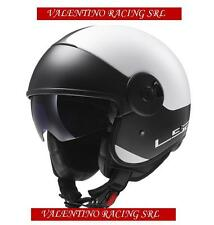 CASCO JET LS2 OF597 CABRIO VIA MATT WHITE BLACK IN FIBRA MIS. S 55/56 Cm