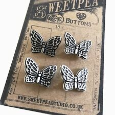 4 Metal Silver Pretty Butterfly Buttons Vintage-Inspired Button Card Sewing