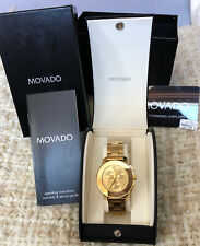 Movado Bold Analog Display Swiss Quartz Gold Watch 3600076 New Never Worn