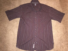 Small Mens REI Short Sleeve T Shirt Brown Stripes Pearl Snap Button Down EUC