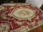 """Vintage hand done Needlepoint Aubusson burgundy Rug 36 x 58"""" or Wall hanging"""