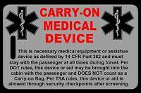 Lo-Viz Gray Carry-On Medical Device  Bag Tag - TSA - CPAP BiPAP APNEA POC