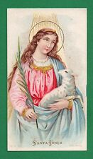 ST. AGNES W/ LAMB & PALM Old HOLY CARD