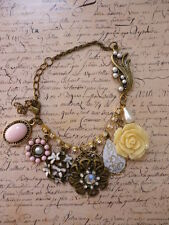 Vintage Bronze Flower Floral Crystal Rose Daisy Statement Jewellery Bracelet
