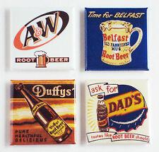 Root Beer FRIDGE MAGNET Set (1.5 x 1.5 inches each) sign bottle label mug
