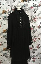 OOAK Black Quirky Handmade Wool-mix Size 14 Coat Lolita Goth Victorian Edwardian