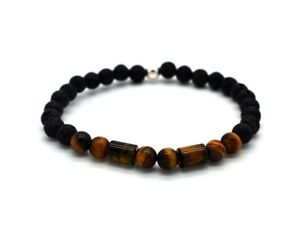 Mens Bead Bracelet Volcanic Lava and Tiger's Eye with Sterling Silver Handmade