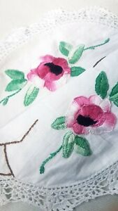Pretty Pink Floral Vintage Hand Embroidered Crocheted White Linen Doily