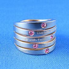 Ring-anillo de acero inoxidable-bronce anillo con circonita Love-señora dedo anular anillo nuevo