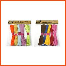 60 X Coloured Paper Raffia 15m Length Wedding Favour Gift Wrapping Twine Ribbon