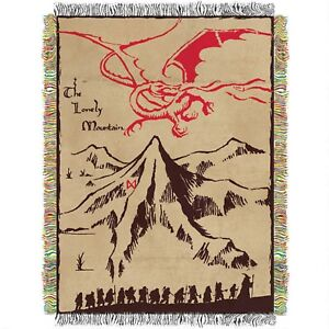 Hobbit Lonely Mountain Woven Tapestry Blanket Authentic Warner Bros.SEALED