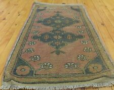 """Vintage 1950-1960s Beautiful 1'7""""×2'11""""Wool Pile  Natural Dyes Cushion Cover Rug"""