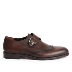 Chaussures à la main en cuir marron Oxford en cuir véritable marron avec boucle