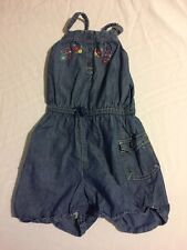 Oshkosh Cute Cotton Overalls Shorts Embroidered Flowers Size 5 Buttons Blue CUTE
