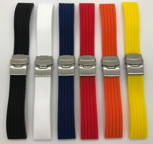 22mm 24mm Black White Blue Red Soft Rubber Silicone Deployment Clasp Watch Band