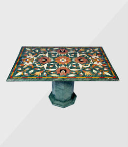 """48"""" x 36"""" green marble Table Top inlaid semi precious stones With 18"""" Stand"""