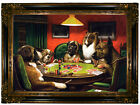 Coolidge A Bold Bluff Dogs Playing Poker Wood Framed Canvas Print Repro 19x28
