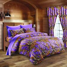 PURPLE KING SIZE 7PC SET WOODS CAMO COMFORTER SHEET SET CAMOUFLAGE BEDDING