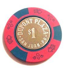 $1 DUPONT PLAZA Casino RED & BLUE Poker Chip SAN JUAN Puerto Rico Bud Jones