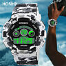 UK Mens Digital Date Sports Watch LED Large Face Military Casual Wrist Watches