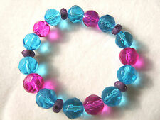 Fuchsia, Turquoise & Purple  Faceted Glass Crystal Bead Bracelet - Handmade - BN