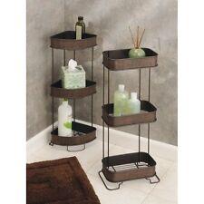 InterDesign Twillo 3-Tier Bathroom Free Standing Corner Shelves, Bronze
