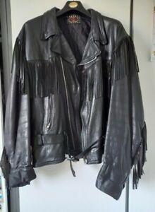 Vintage Unisex Leather Jacket / Fringe Biker Jacket / 1980s Leather Jacket