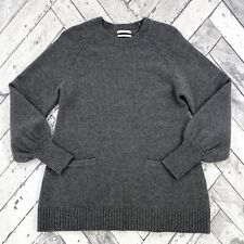 Co Essentials Wool & Cashmere Blend Tunic Sweater Sz L Gray with Pockets $695