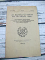 Our American Government 1960 175 Question Answer Pamphlet 86th Congress