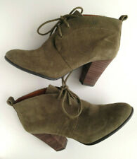 Lucky Brand Olive Green Suede Leather Lace Up Boots High Heel SZ 8 M