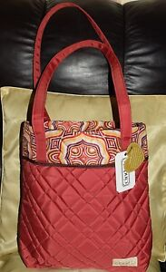 Cinda B Open Tote Quilted Nylon Lightweight Red New with Tags!