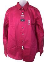 Van Heusen 17 34/35 Slim Fit Dress Shirt NWT Mens Extreme Color Pink Sorbet