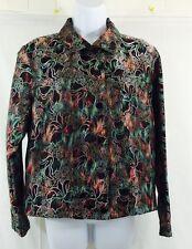 Chico's Metallic Silver Muli-colored Silk/rayon Jacket Blazer Water Color Size 1