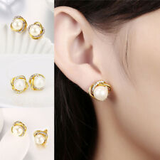 Womens White Gold Plated Genuine Freshwater Pearl Drop Stud Earrings Gift