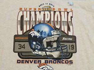 NEW Denver Broncos Super Bowl 33 Champions 1999 T Shirt XL Elway Back To Back