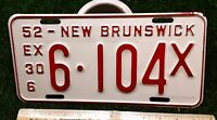 NEW BRUNSWICK - 1952 Quarterly Commercial license plate- excellent orig, tough!