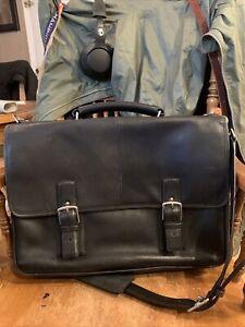 Coach Hudson Black/Nickel Leather Briefcase Laptop Case Bag