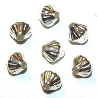 MB7290f Bright Silver 6mm Corrugated Bicone Plated Brass Metal Beads 100/pkg