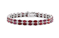 18.65 ct Oval Cut Red Ruby & Sapphire Tennis Bracelet 14K White Gold over Silver