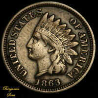 1863 Indian Head Penny 1c 081020-05E Free Shipping!