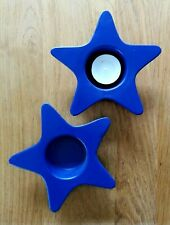 2 Teelichthalter - Stern - Keramik 13cm - Blau -  - Deko