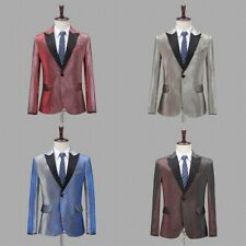 Mens One Button Single Breasted Suit Jacket Peak Lapel Blazer Dance Show