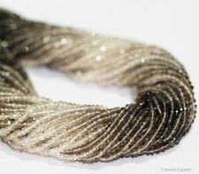"""Natural Shaded Smoky Quartz Micro Gemstone Faceted Rondelle Beads Strand 13"""" 3mm"""