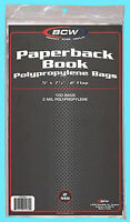 """100 BCW PAPERBACK BOOK Size 2 MIL BAGS 5"""" x 7-3/8"""" Storage Archival Covers Flap"""