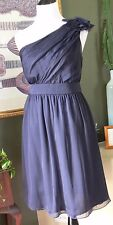 The Limited Event Silky Dark Blue One Shoulder Georgette Empire Dress 4 MINT