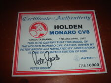 Peter Brock signed Certificate of Authenticity Autoart Holden Monaro CV8 - 2002