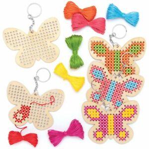 Cross Stitch Keyring Kit Wooden Butterfly Kids Beginner Creative Activity Crafts