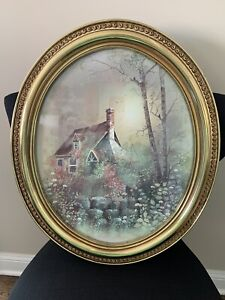 Vintage Syroco 1982 Oval Gold Plastic Picture Frame Cottage In Forest Birch Tree