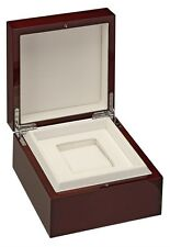 Diplomat Cherry Wood Piano Finish Single Watch Case with White Leather Interior